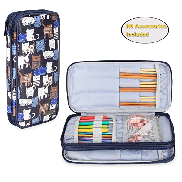 Teamoy Knitting Needles Case(up to 10-Inch), Travel Organizer Storage Bag for Circular and Straight Knitting Needles, Crochet Hooks and Knitting Accessories, Blue Cats-NO Accessories Included (Color: Blue Cats, Tamaño: Medium)