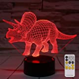 MH Zone 3D Night Light for Kids Night Lights Bedside Lamp 7 Colors with Smart Touch Changing Remote Control, The for Kids Girls Boys (Triceratops)