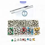200 Sets 5 Colors Double-Sided Rhinestone Studs Punk Diamond Spikes Rivetsfor Leather/Belt/Handbag Leather Decoration with Fixing Tool (Mixed Color) (Color: Mixed color, Tamaño: 7mm)