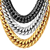 U7 Men Hip Hop Chunky Chain Stainless Steel/Black Gum/18K Gold Plated Jewelry Necklace,4 Length,12mm Wide (36 inches, stainless-steel) (Tamaño: Large)