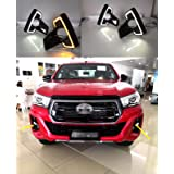 Auto-Tech 2x LED DRL Daytime Running Lights With Yellow Turn Signals For 2018 Hilux Rocco (White to Yellow Light) (Color: White to Yellow Light)
