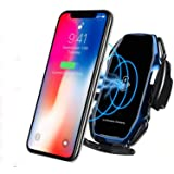 KMI CHOU A5 Wireless Car Charger,Automatic Clamping IR Intelligent Wireless Car Charger Mount - Car Charger Holder 10W Fast Charging for iPhone Xs Max/XR/X/8/8Plus Samsung S10/S9/S8/Note 8-Royal Blue (Color: Royal Blue)