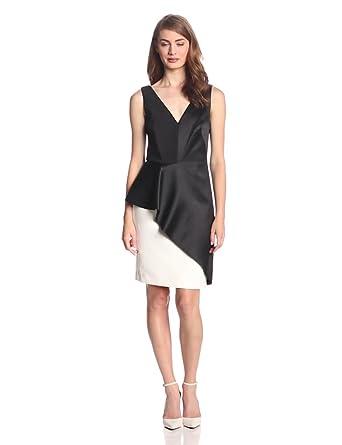 HALSTON HERITAGE Women's Sleeveless Colorblock Dress with Asymmetric Peplum, Black/Chalk, 0