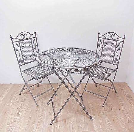 Sitzgruppe Genua Runder Tisch mit 2 Stuhlen Metall Gartengarnitur Gartenmöbel