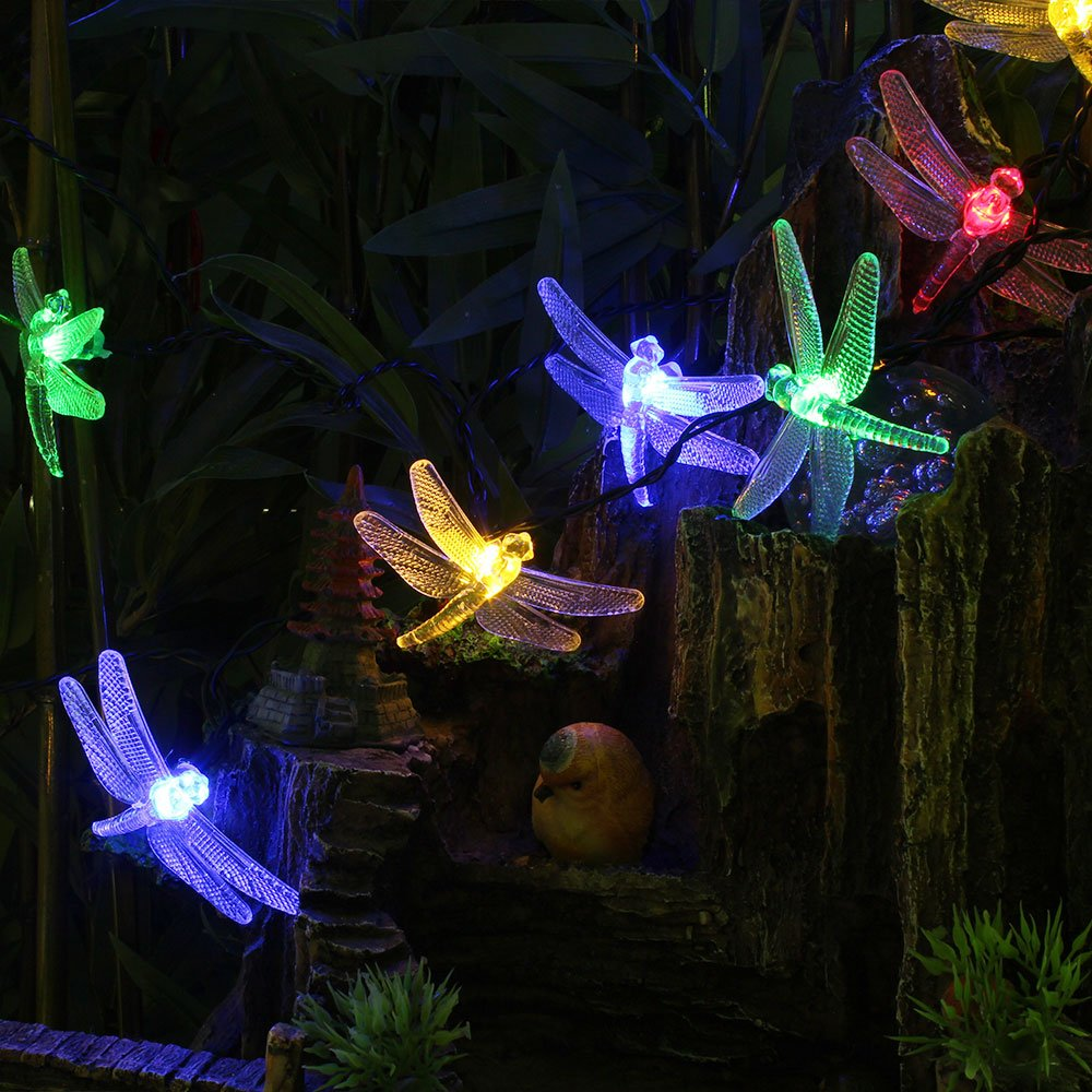 Led string lights solar powered outdoor patio decorative dragonfly garden yard ebay - Decorative garden lights ...