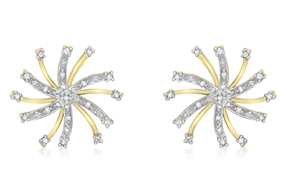 Carissima Gold 9ct Yellow Gold 0.10ct Diamond Snowflake Stud Earrings