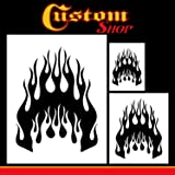 Custom Shop Airbrush Flame Licks Stencil Set (Flame Licks Design #1 in 3 Scale Sizes) - Laser Cut Reusable Templates - Auto, Motorcycle Graphic Art (Tamaño: Flame Skull #3)