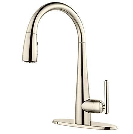 Pfister GT72SMDD Lita 1-Handle Pull-Down Bar/Prep Kitchen Faucet, Polished Nickel
