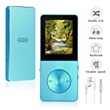 Mp3/Mp4 Player Widon 8GB Mp3 Music Player Built-in Speaker HiFi Shuffle A-B Playback Bookmark Variable Speed for Audio Books Metal Body FM Radio Voice Recorder Gift for Kids Language Learning Blue (Color: Blue, Tamaño: small)