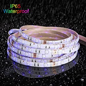 LED Strip Light Waterproof 32.8ft 10m Flexible Color Changing RGB SMD 5050 300leds LED Strip Light Kit with 44 Keys IR Remote Controller and 12V 5A Po