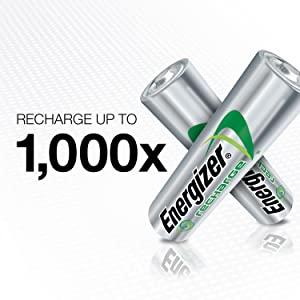 Energizer Rechargeable AA Batteries, NiMH, 2000 mAh, Pre-Charged, 4 count (Recharge Universal) (Tamaño: 4 Count)