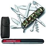 Victorinox Swiss Army Huntsman Pocket Knife + Leather Pouch + Pocket Knife Sharpener - Top Value Bundle!
