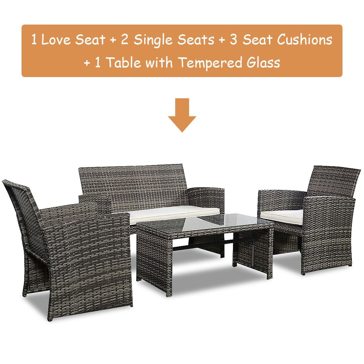 Goplus 4 PC Rattan Patio Furniture Set Garden Lawn Sofa Cushioned Seat Wicker Sofa (Mix Gray)