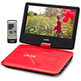 UEME Portable DVD CD Player with 9 Inches Screen, Car Headrest Mount Holder, Remote Control, Built in Rechargeable Battery, Wall Charger, Car Charger, Personal DVD Players (Red) (Color: Red, Tamaño: 9 Inches)