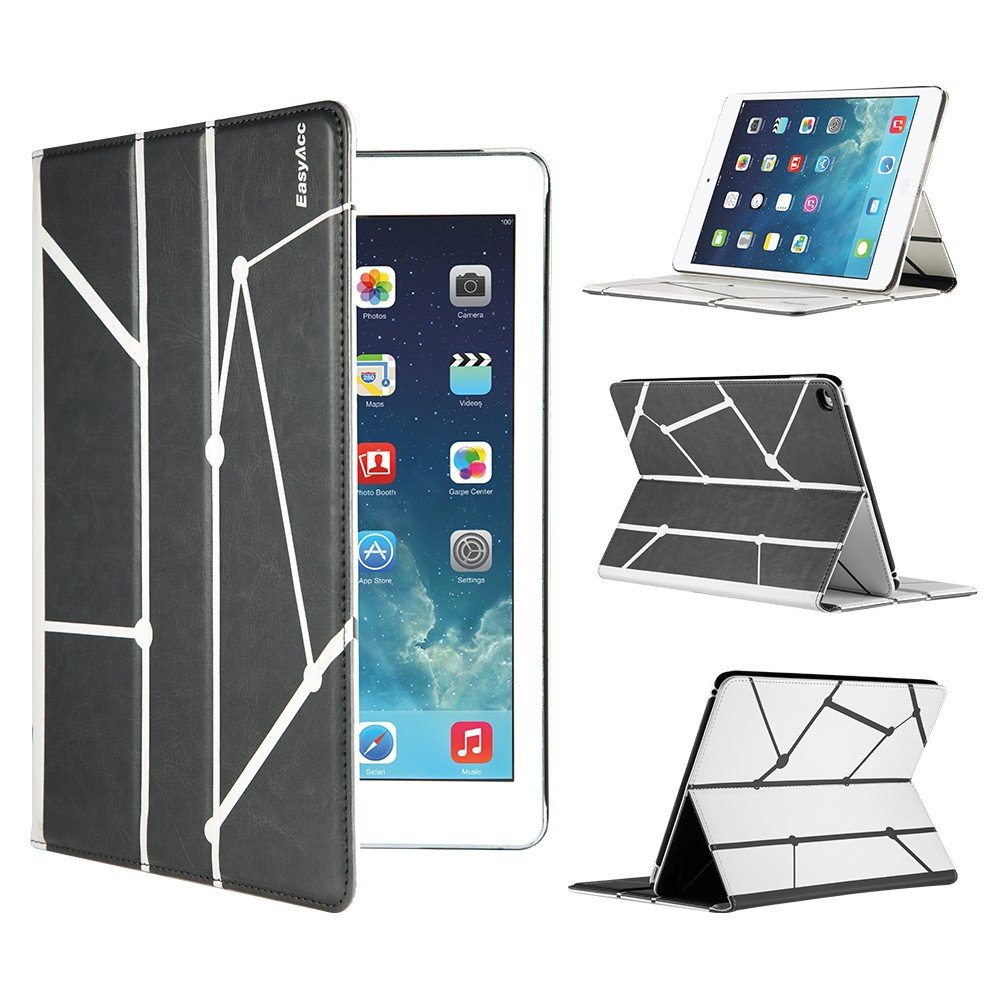 EasyAcc Reversible iPad Air 2 Smart Case Cover with Stand / Auto Sleep Wake-up for Apple iPad Air 2/ iPad 6 (Top Premium PU Leather, Folded Cover Design, Grey and White)