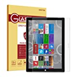 Surface Pro 3 Screen Protector, OMOTON Tempered Glass, [9H Hardness] [Crystal Clear] [Scratch-Resistant] [Easy Installation] Perfect for Microsoft Surface Pro 3, 12 inch (Color: Clear)