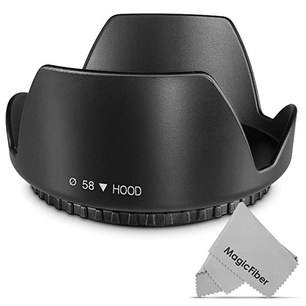 58MM Tulip Flower Lens Hood for Canon Rebel T5, T6, T6i, T7i, EOS 80D, EOS 77D Cameras with Canon EF-S 18-55mm f/3.5-5.6 IS Lens and Select Nikon Lenses
