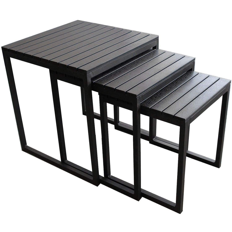 3er Set Aluminium Beistelltisch Hocker Alu Couchtisch Wohnzimmertisch Blumenhocker Gartentisch mit Polywood Tischplatte – Schwarz kaufen