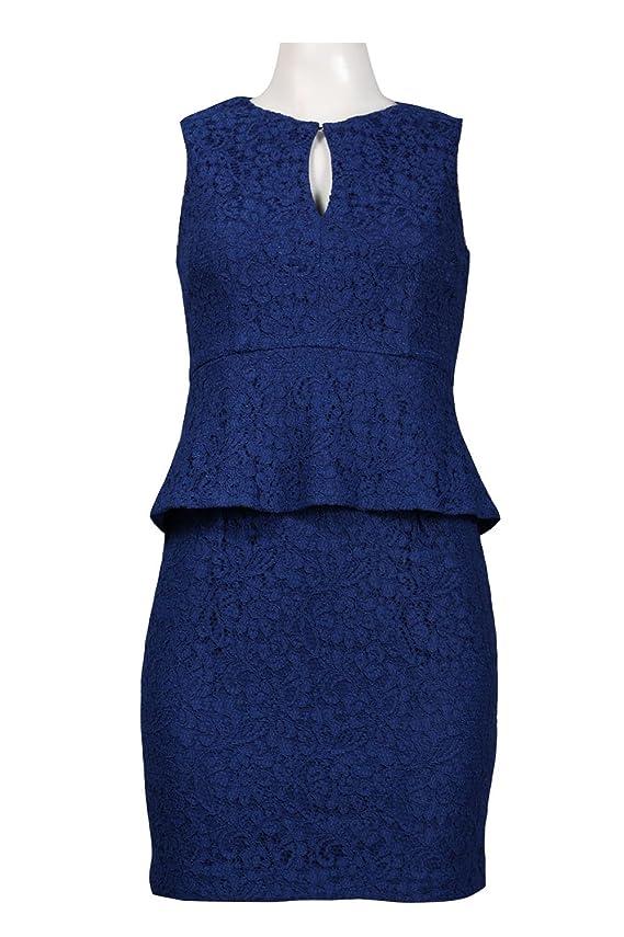 Adrianna Papell Women's Keyhole Neckline Mock Two Piece Peplum Lace Dress