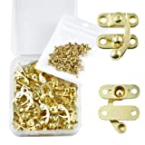 PGMJ 20 Pieces Thickened Solid Antique Right Latch Hook Hasp Horn Lock Wood Jewelry Box Latch Hook Clasp and 80 Replacement Screws (Gold) (Color: Gold, Tamaño: Small)