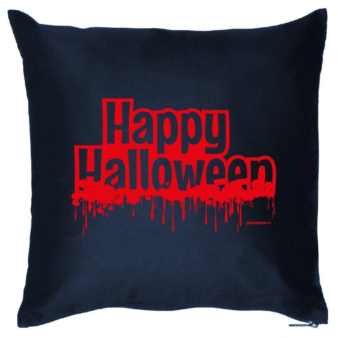 Kissen Sofakissen mit Aufdruck – Happy Halloween – Horror Zombie Hexe Grusel Monster Halloweenparty Geschenk Wendekissen jetzt bestellen