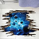 CNUSER 3D Blue Galaxy Wall Stickers- Universe Scene with Planets Stars Starry Sky- Removable Wall Mural Decals for Kids Bedroom Ceiling Living Room Nursery