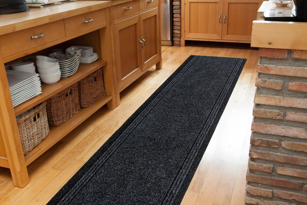 """Grey Black Skid Resistant Durable Entry Mats For Kitchen And Hallway - Sold And Priced Per Foot - 2 2"""" Wide"""