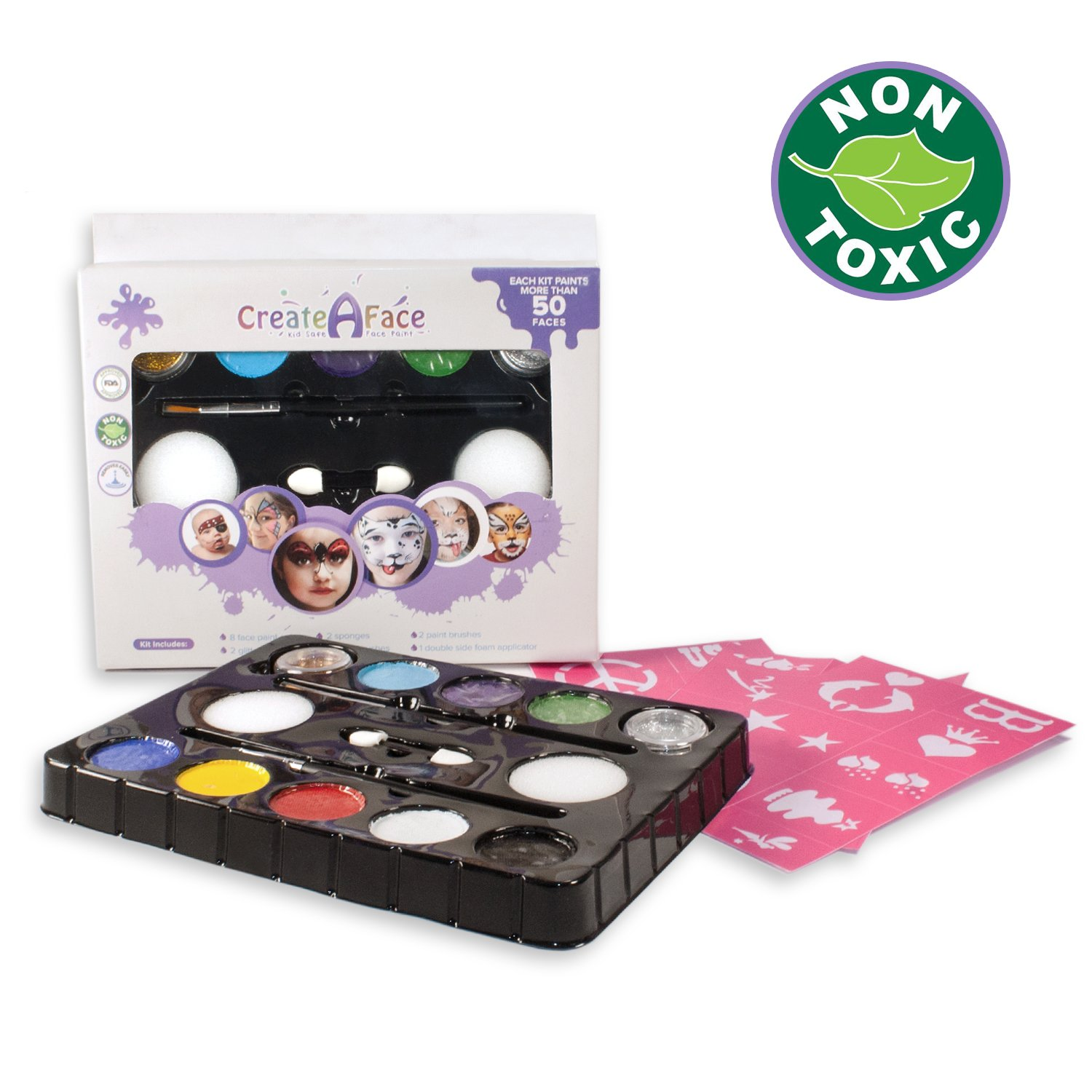 Face Paint For Kids (8 Vibrant Colors + 2 Glitter Gels + 2 Brushes + 2 Sponges + 24 Done-For-You Stencils) Water Based, Skin-Friendly, Fragrance Free & FDA Compliant - Paints 40 - 80 Face Projects