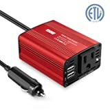 Yunzong 150W Power Inverter DC 12V to 110V AC Car Adapters Inverter with 3.1A Dual Car USB Charger Adapter for Smartphones, Laptop, Nebulizer, Household Appliances in case Emergency Outage (Color: Red, Tamaño: DC12V to AC110V 150W)