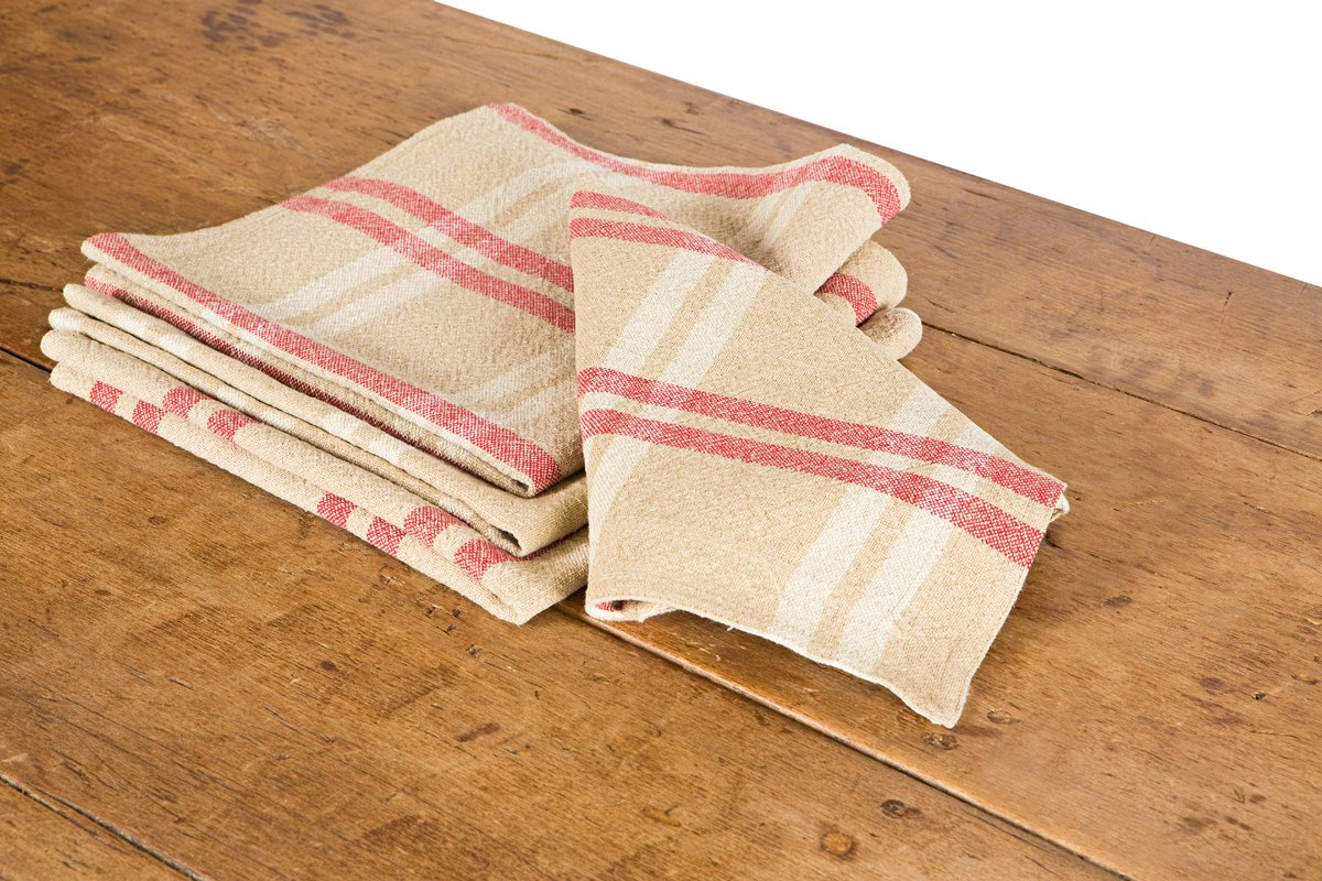 Soft Linen & Cotton Tan, Red and White Plaid Check Napkin Set of 4 by Xia Home Fashions