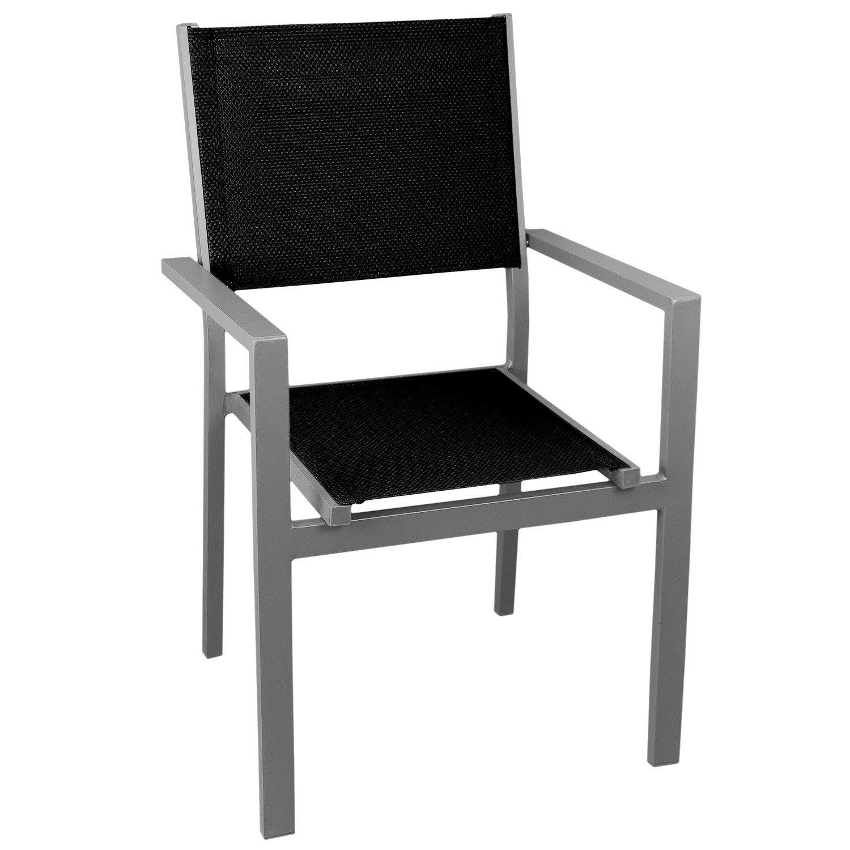 Gartenstuhl Stapelstuhl, hochwertige 4×4 Textilenbespannung, Aluminium, stapelbar, silber/schwarz – Gartensessel Bistrostuhl Stapelsessel Balkonmöbel Gartenmöbel Terrassenmöbel Sitzmöbel kaufen