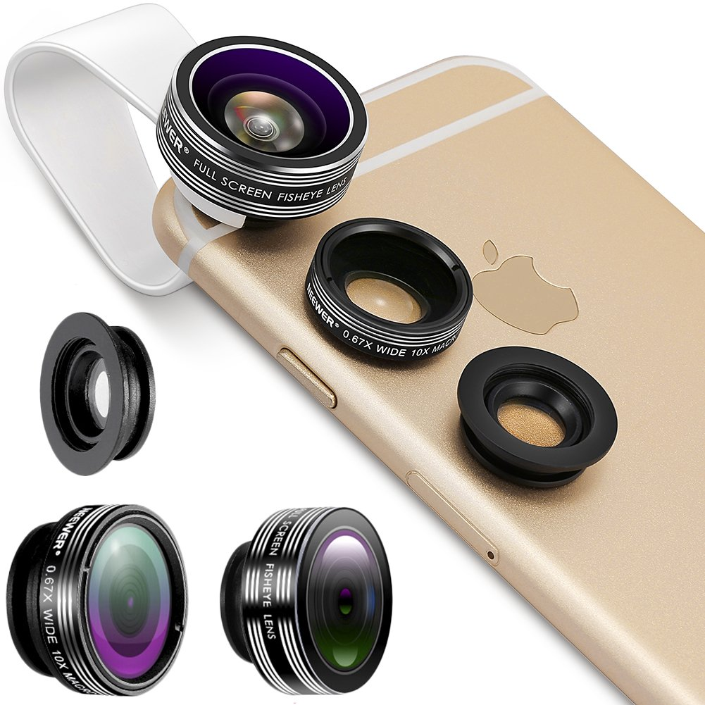 Neewer 3 In 1 Lens Kit Clip-On 180 Degree 3 Element Group Supreme Fisheye Lens+0.67X Wide Angle+10X Macro Lens