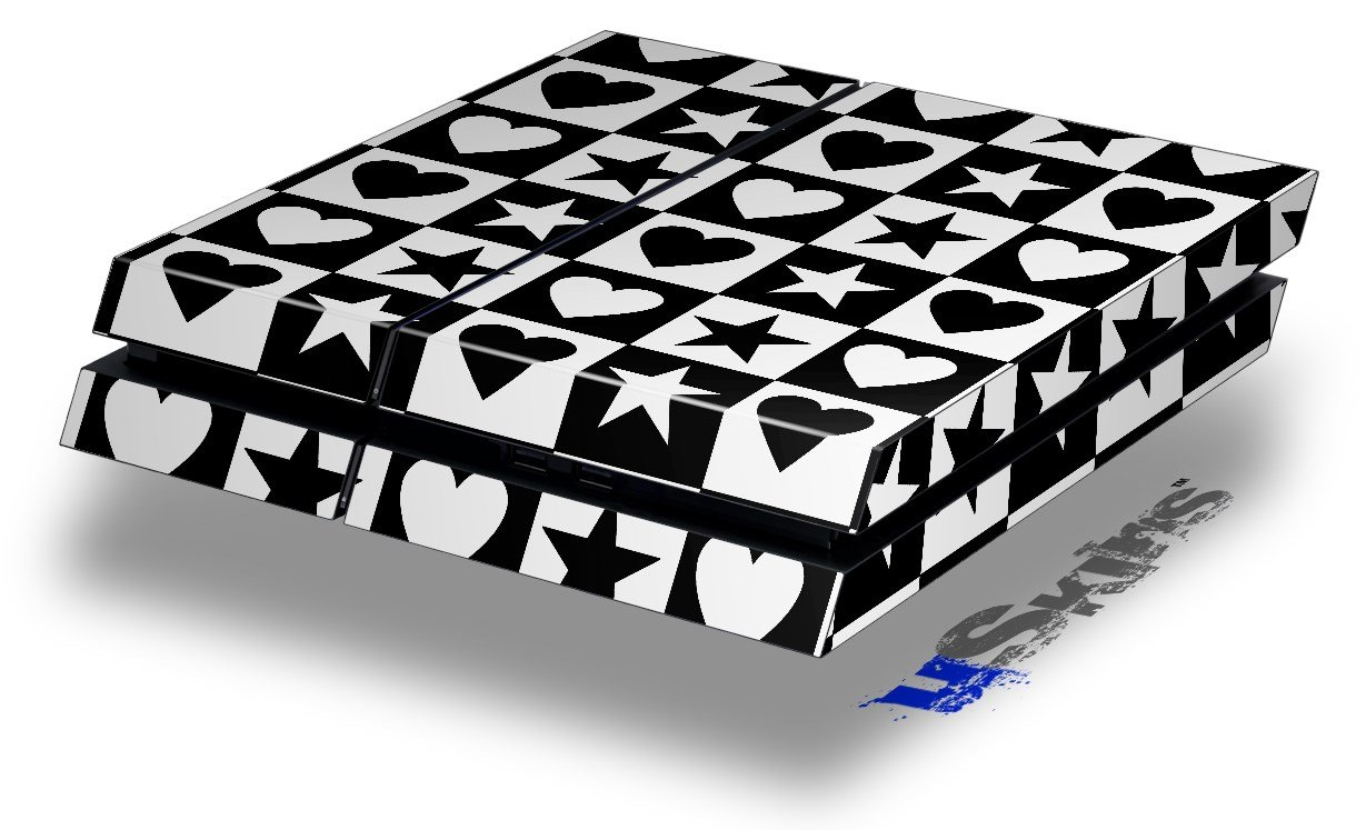 Hearts And Stars Black and White - Decal Style Skin fits original PS4 Gaming Console wood grain oak 01 holiday bundle decal style skin set fits xbox one console kinect and 2 controllers xbox system sold separately