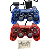 Saloke 2 Packs Wired Gaming Controllers for Ps2 Double Shock (Clear Red and Clear Blue) (Color: Clear Red and Clear Blue)
