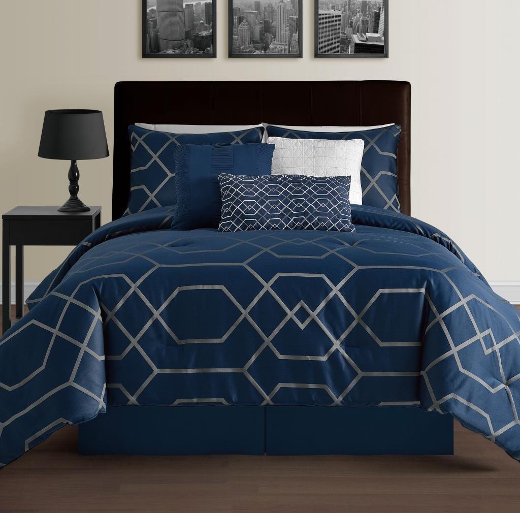 Hampton 7 piece modern geometric down alternative for House of hampton bedding
