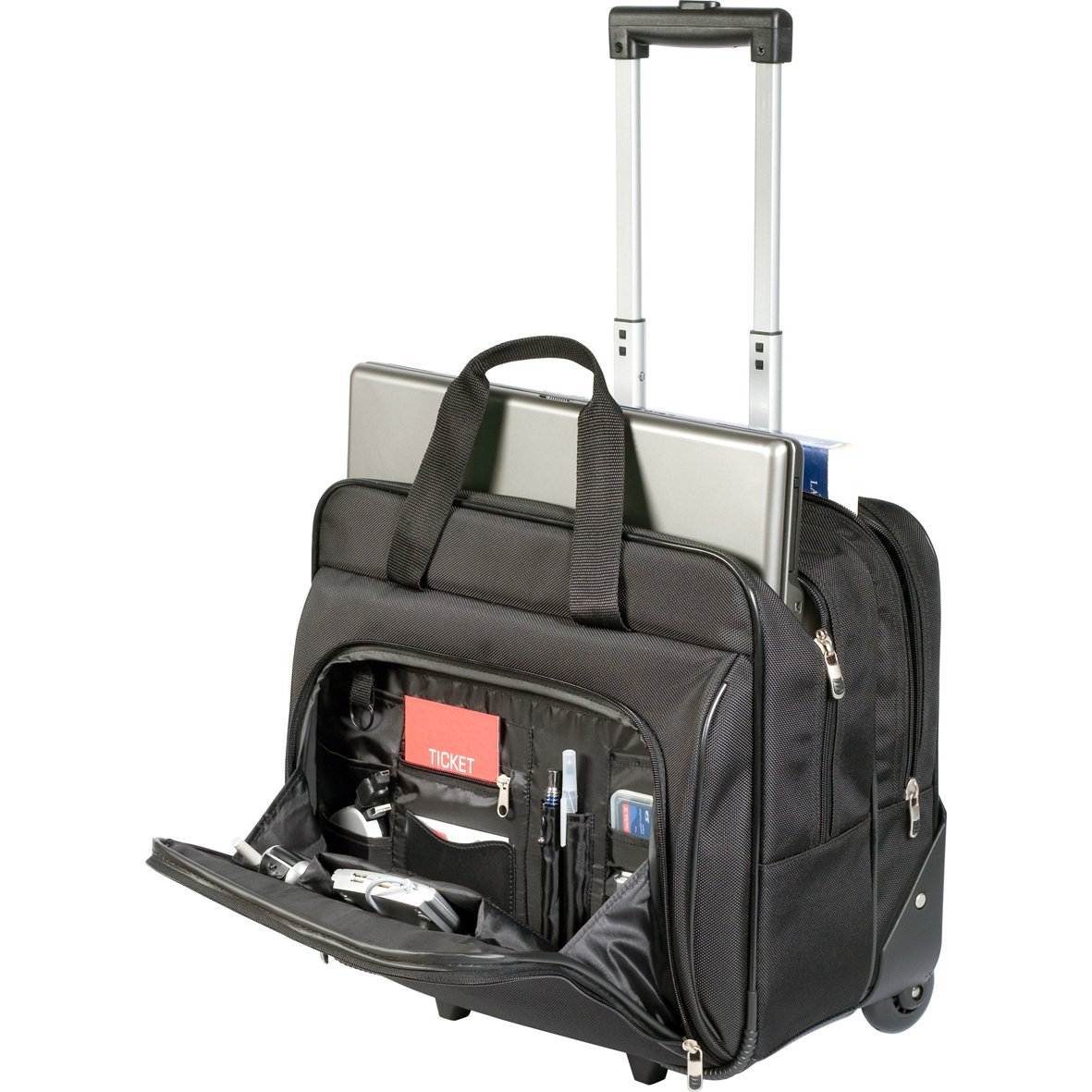 rolling laptop briefcase trolly bag wheels hand luggage business executive pack ebay. Black Bedroom Furniture Sets. Home Design Ideas