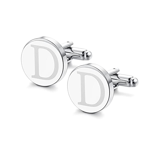 ORAZIO Mens Classic Engraved Initial Cufflinks Alphabet Letter Cufflinks Formal Kit Business Wedding Shirts D