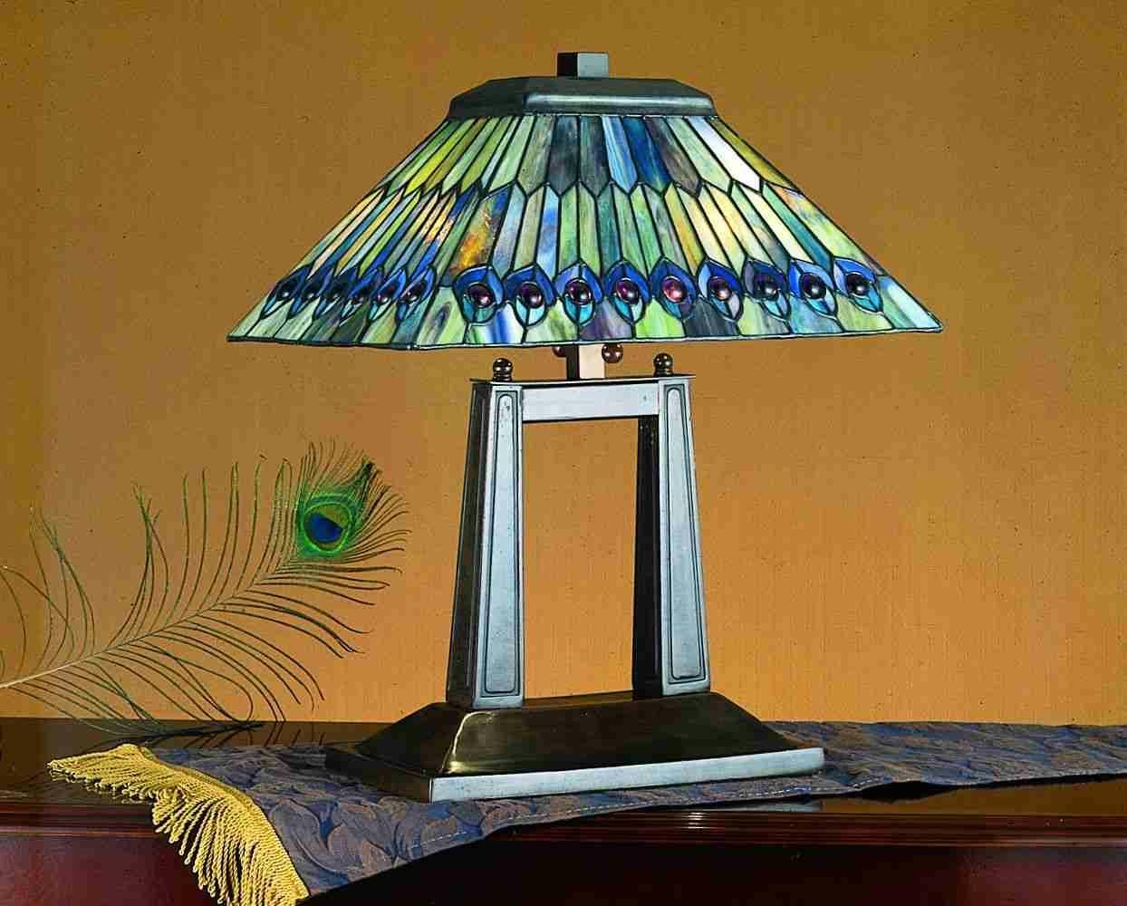 colorful and beautiful peacock table lamps