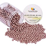 PH PandaHall About 1000 Pcs 4mm Tiny Satin Luster Glass Pearl Bead Round Loose Spacer Beads for Jewelry Making Brown (Color: Brown-1000 Pcs, Tamaño: 4~4.5mm)