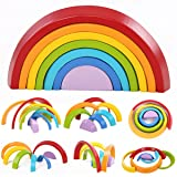 king do Way Wooden Rainbow Stacker Toys 7Pcs Nesting Stacking Game Educational Learning Toy Puzzle/Creative Colorful Building Blocks for Kids Baby (Color: Rainbow color)