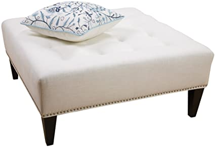 Classic Studded Square Ottoman