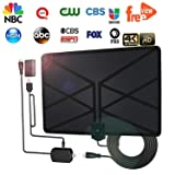 [2018Upgraded] HDTV Antenna Amplified Digital HD TV Antenna 60-100 Mile Range 4K 1080P Indoor Powerful HDTV Amplifier Signal Booster VHF UHF Freeview Television Local Channels W/Detachable Sign (Color: Black)