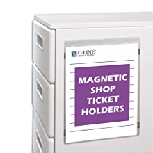 C-Line Magnetic Clear Vinyl Shop Ticket Holders, 8.5 x 11 Inches, 15 per Box (83911)