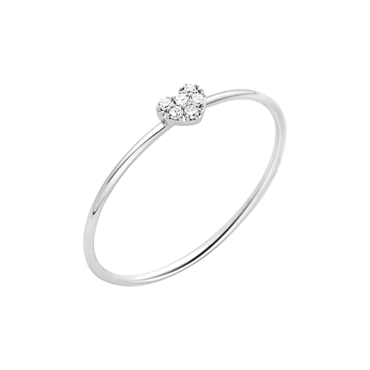Miore Ring Necklace 9 ct White Gold-Diamond 0.03 cts T54-MY030R4
