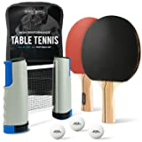 ProSpin-USA Ping Pong Paddle Set - All-in-One Kit with Portable Table Tennis Net, 2 Paddles, 3 Balls, Travel Case - Play Anywhere on Any Table