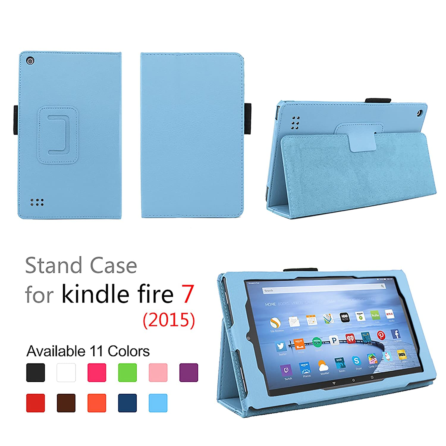 "Case for Fire 7 - Elsse Premium Folio Case with Stand for the NEW Fire, 7"" Display (Sept, 2015 Release) - Light Blue"