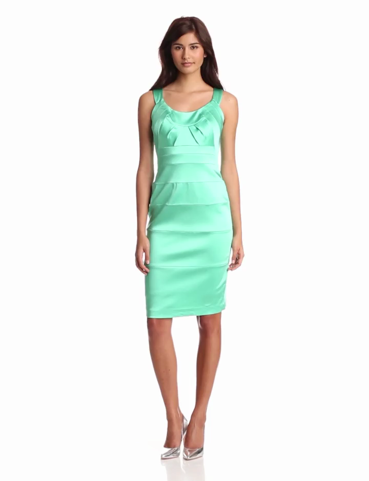 Jax Womens Stretch Satin Dress