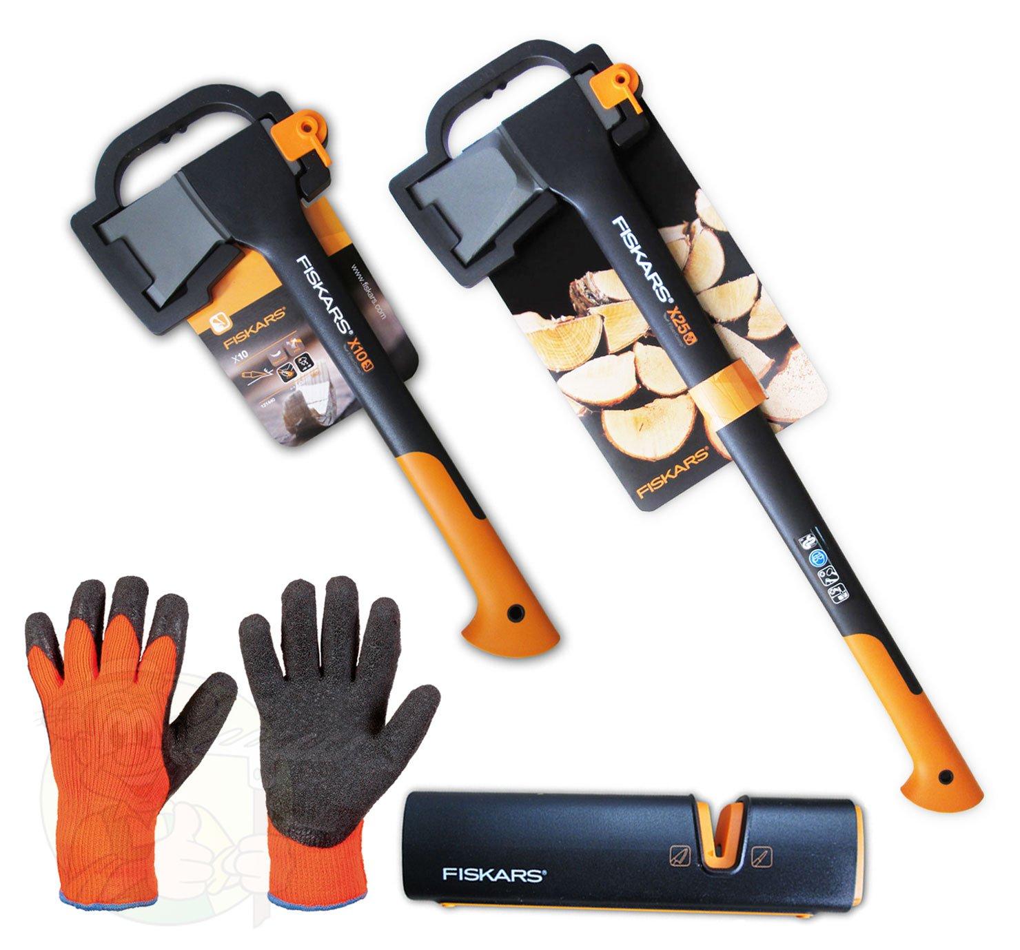 Fiskars Spaltaxt X25 + X10 + Xsharp Axt und Messerschärfer + Handschuhe  GartenKundenbewertungen