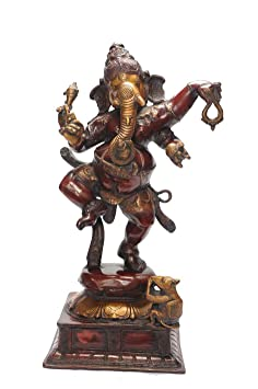 "Statuestudio Ganesh Idols Brass Dancing Copper 23"" Red"