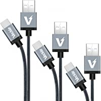 3-Pack Veckle Type C Multiple Size 1ft, 3.3ft, 6.6ft USB Type C Braided Cable for Samsung Galaxy S8, Nexus 6P, 5X, Onplus 2, LG G5, Macbook 12 inch, Pixel, Nintendo Switch and More
